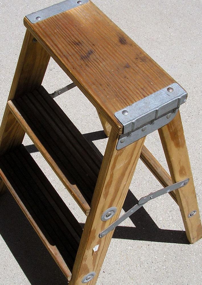 Vintage Step Stool Wood Metal Stool 1960s Kitchen Stool