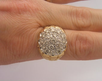 3.00 C.T.W Man's Round Cut Certified Diamond Nugget Cluster Ring14K Gold
