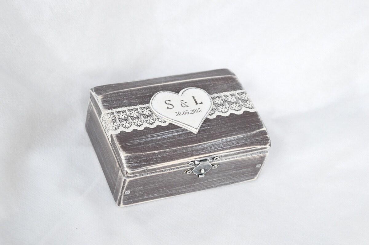 Wedding ring box rustic ring bearer box heart ring box wooden for Heart ring box