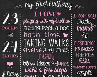 Chalk board Birthday Poster - Printable First Birthday Board - 1st Birthday - 2nd Birthday - Pink Birthday Sign - Chalk Poster