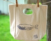 Organic Cotton Lunch Tote Humpback Whale, hand painted eco-friendly canvas tote with cut out handle, mini organic cotton purse