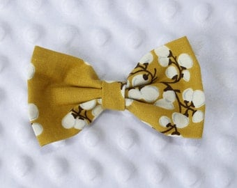 Cotton Blossom,Cotton Bud,Mustard,Gender Neutral,Hair Bow,Hair Bow Clip,Adult Bow Tie,Teenager Bow Tie,Toddler Bow Tie,Infant Bow,Photo Prop