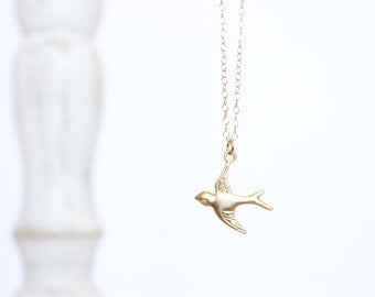 Gold Sparrow Necklace - Gold Charm Necklace - Custom Length Necklace - Bird Charm Necklace - Layering Necklace - Thin Chain - Animal Pendant