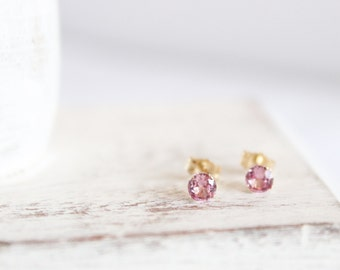 14k Gold and Pink Tourmaline Earrings - October Birthstone Studs - Gemstone Earrings - Simple Gold Earrings - Light Pink Bridesmaids Gift