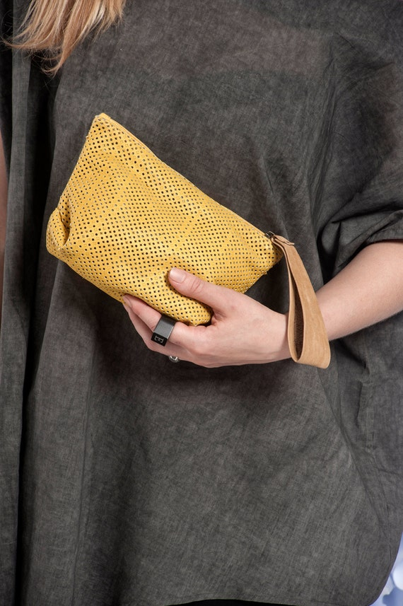 Yellow Evening Clutch / Women Leather Wristlet Purse / Handbag / Perforated Leather Bag /  Elegant Purse /  Lined Zipper Wallet - Komo