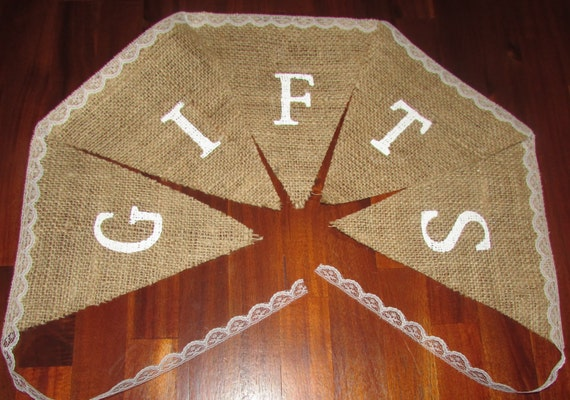 """Ready to ship! Burlap/lace """"Gifts"""" banner. Bridal shower, baby shower, wedding signs"""