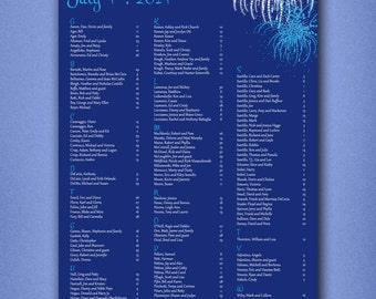 PRINTABLE Wedding Seating Chart • Reception Seating Chart • Alphabetical Seat Assignments • Fourth of July • Fireworks • Digital File • Blue