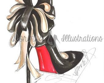 High heels print, fashion print, fashion illustration, fashion sketch , shoes illustration