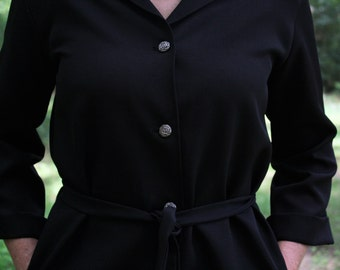 Lovely Mid-Century Black Button-Up Dress with Long Sleeves