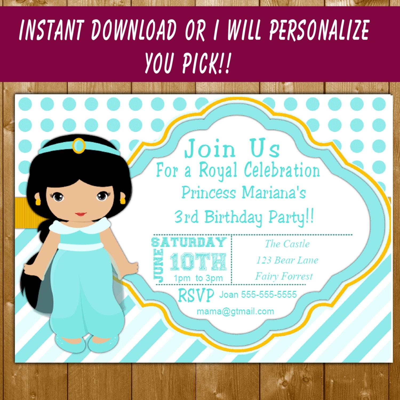 princess jasmine funpartysupply – Princess Jasmine Birthday Invitations