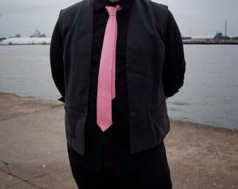 Silk, Pink Paisley Skinny Necktie