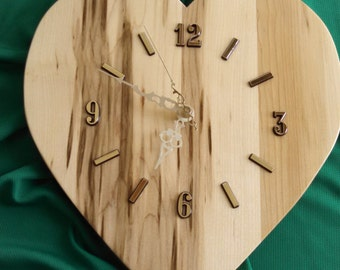 Heart Clock made out of Maple Wood