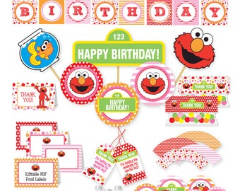 Elmo Inspired Party Package INSTANT DOWNLOAD! Red, Pink and Orange Dots and Stripes / Sesame Street Party Pack / Elmo Party Collection / DIY