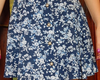 Blue floral high waised skirt