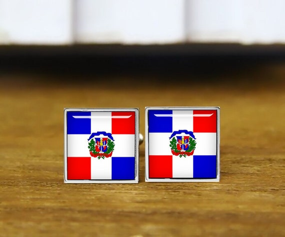 dominican republic flag cufflinks, custom flag, personalized cufflinks, custom wedding cufflinks, round, square cufflinks, tie clips, or set