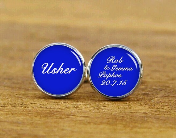 usher cufflinks, personalized wedding cufflinks, custom name, date, groom, groomsman cufflinks, round, square cufflinks, tie clips, or set