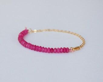 Gold plated bracelet - Agate Bracelet - dainty jewelry -  gold minimalist jewelry - simple Bracelet - Pink beads - dainty bracelet