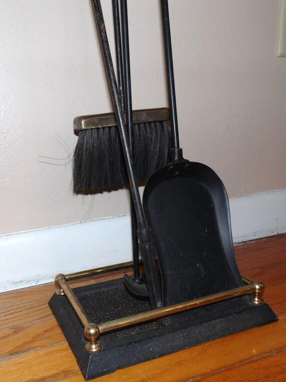 Antique Cast Iron Fireplace Set Square Bottom Houseware Black