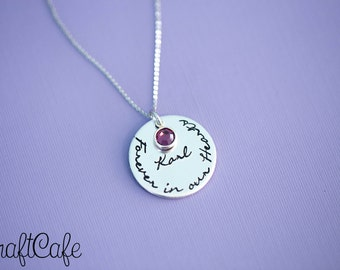 "Hand Stamped ""Forever in my Heart"" Birthstone Memorial Pendant - Hand Stamped Jewelry"