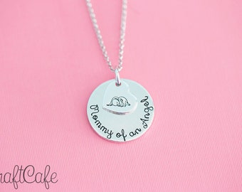 Hand Stamped Mommy of an Angel - Memorial Pendant - Remembrance - Hand Stamped Jewelry