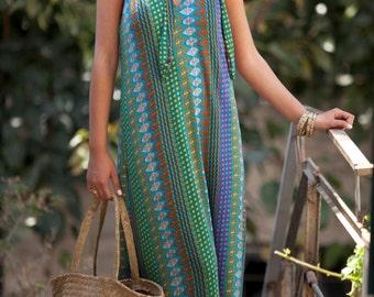 Clara Maxi Dress ,Collar dress ,sexy ,sleeveless ,Summer dress ,one size ,Tribal print, Boho dress, Gypsy dress, Colorful dress