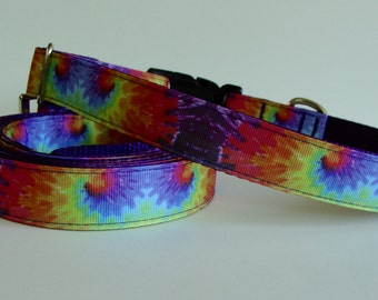 Tie Dye Rainbow Dog Collar - Ready to Ship!
