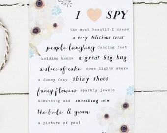 Elegant Grey Floral Wedding I Spy Game - Secret Garden