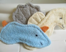 Gift Set: Baby Washcloth Animals / Terrycloth Bath Toys / Baby Teethers / Teething Toys / Squishy Friends - Sea Slug, Sea Scallop & Seahorse