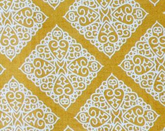 Gold Cream Medallion Damask Print Fabric Cotton