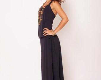 SALE 40%OFF , Black Maxi Dress , Long Dress, Open Back Dress, Classic Dress , Evening Dress