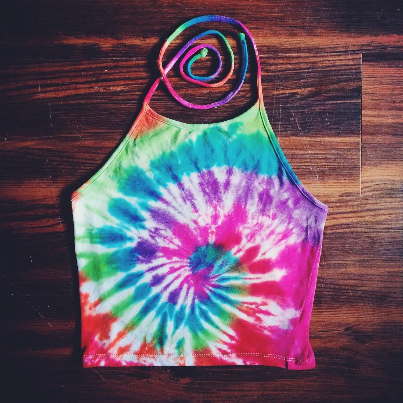 Tie Dye Halter Top Rainbow Handmade Spiral Tie Dye