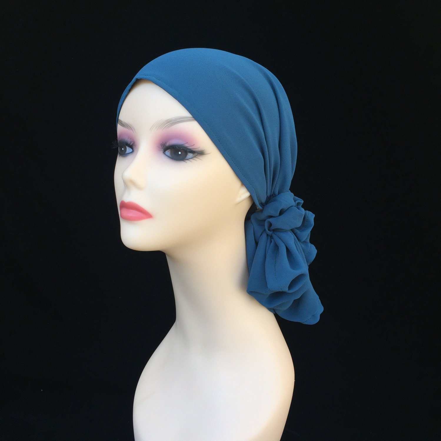 chemo alopecia scarf in a sheer peacock chiffonno tying