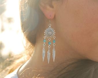 Feather earrings, long unique earrings, beads earrings, boho summer earrings, gift for sister