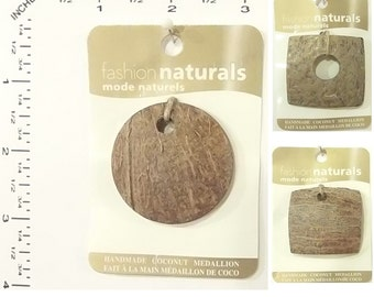 Vision Trims Handmade Natural Coconut Pendant Medallion Beads for Jewelry and Beading Craft.