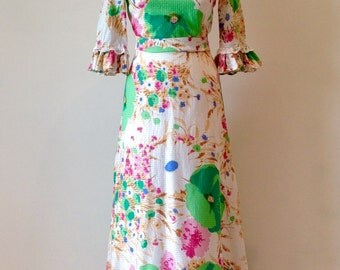 Vintage 70s 1970s Boho Troubadour Ladies Flowered Maxi Dress Size 8 Hippie Womans Clothing