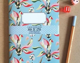 notebook journal - A5 -original cute pattern- deco flower