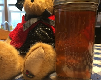 Honey Fresh Raw Organic Pint and 1/2 Tall Mason Jar Honey