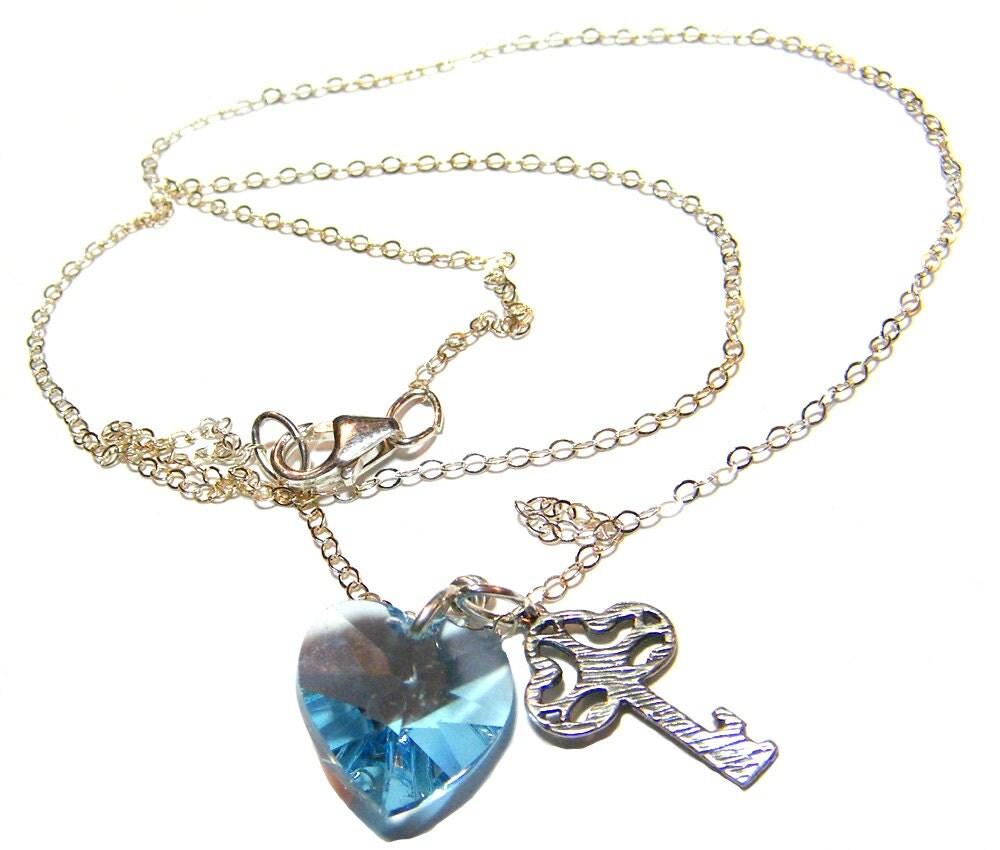 swarovski heart necklace heart key necklace heart charm. Black Bedroom Furniture Sets. Home Design Ideas