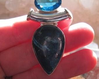 Azurite, London Blue Topaz Sterling Silver Pendant