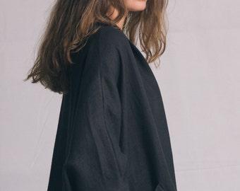 Black linen oversized coat / Woman's shapeless cardigan / Loose fit black cardigan / Summer long black jacket / Fasada 1558