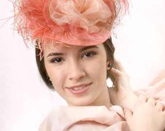 Melbourne cup headpiece, Coral feather fascinator, Peach blossom hat, Kentucky derby fascinator, Romantic headpiece, Couture millinery