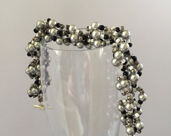 Black and Silver Spiral Pearl & Seed Bead Bracelet with Toggle Clasp