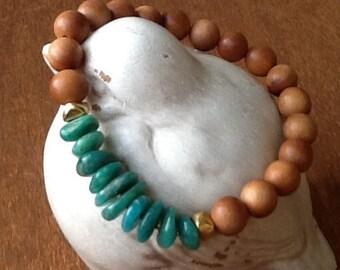 Sandalwood and Russian Amazonite Stretch Bracelet