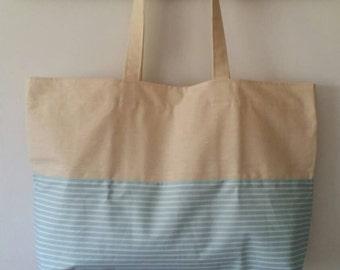Horizontal stripe cotton tote bag