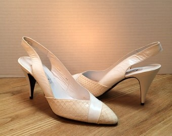 Angel Albert Shoes, Bridal or Special Occasion Shoes, Vintage Shoes, Women's Shoes, Made in Spain, Size US.9 AA, Style No. 1523