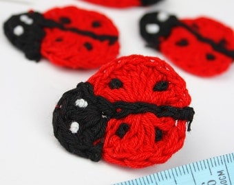 Crochet Ladybirds 4pk Appliques Crochet Bugs Ladybugs insects Hair Accessories Jewellery Toys Kids Clothing Cotton Crochet Pack of 4