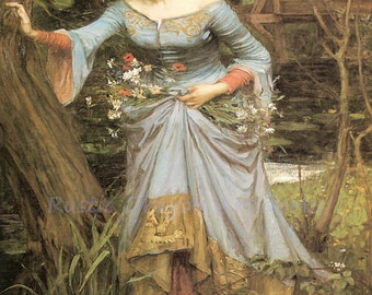 "John William Waterhouse ""Ophelia"" Flowers Hamlet William Shakespeare 1910 Reproduction Digital Print"