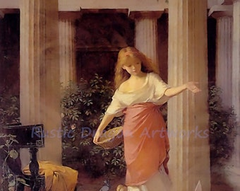 "John William Waterhouse ""Roman Girl Feeding Birds""  Greek Architecture 1874 Reproduction Digital Print"