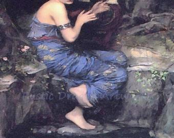 "John William Waterhouse ""The Charmer"" Roman Girl Fish Blue 1911 Reproduction Digital Print"