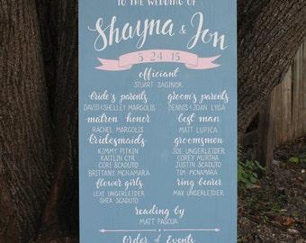 "Custom hand painted wedding program sign | chalkboard wedding signage | 24"" x 48"""